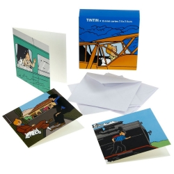 Set of 8 Small Cards Tintin train and plane 31184 (7,5x7,5cm)