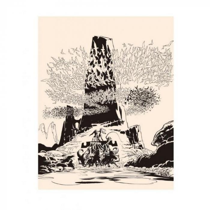 Estampa de pigmento Valérian Mézières, Aves del Maestro B&N firmado (40x50cm)