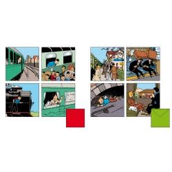 Set de 8 Tarjetas de felicitación dobles Tintín trenes 31165 (15x15cm)