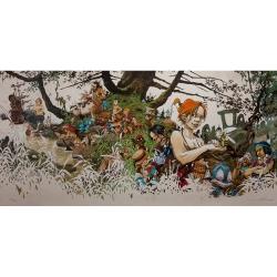 Póster cartel offset  Régis Loisel, Peter Pan firmado (100x50cm)