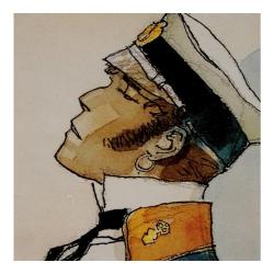 Postcard Corto Maltese, Periplo Imaginario (14x14cm)