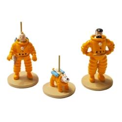 Set de figuritas Moulinsart Tintín, Haddock y Milú cosmonautas 29255 (2018)