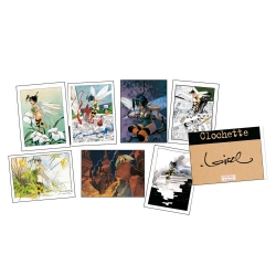 Portfolio with 7 Tinker Bell illustrations, signed by Loisel (24x30cm)