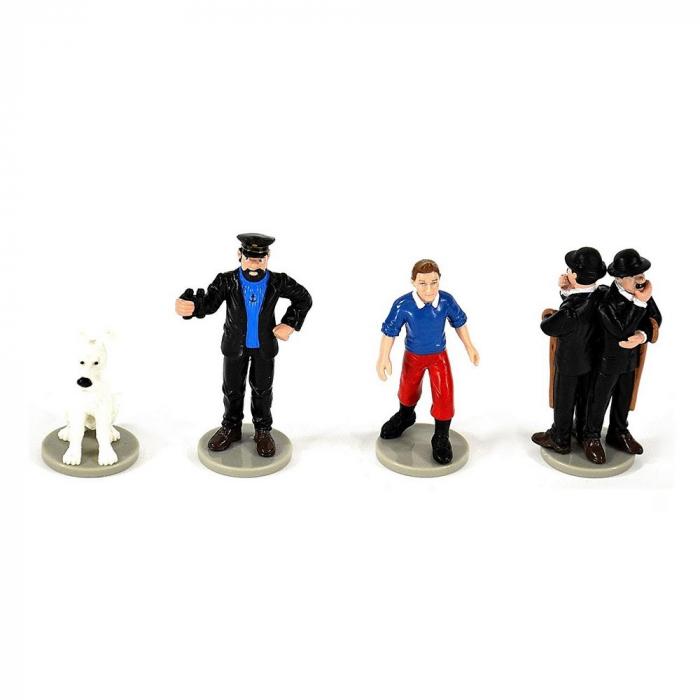 Set de 4 figuritas de colección Tintín, Milú, Haddock, Hernández y Fernández