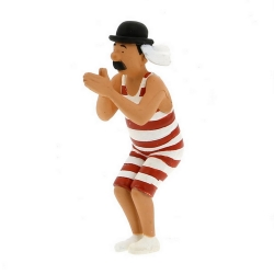 Figurine de collection Tintin Dupond baigneur 9cm Moulinsart 42474 (2011)