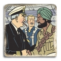 Collectible marble sign Blake and Mortimer with Gray and Nazir (20x20cm)
