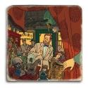 Plaque de marbre collection Blake et Mortimer chez l'antiquaire Yanjiu (20x20cm)