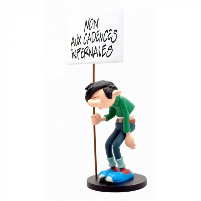 Figurine de collection Plastoy: Gaston Lagaffe avec sa pancarte (00309)