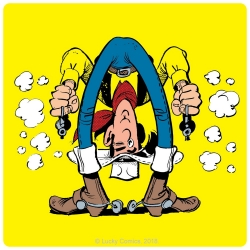 Posavaso Lucky Luke 10x10cm (Montando a Jolly Jumper)