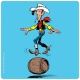 Lucky Luke Coaster 10x10cm (balancing in a barrel)