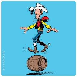 Posavaso Lucky Luke 10x10cm (equilibrándose en un barril)