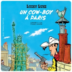 Posavaso Lucky Luke 10x10cm (Un cowboy à Paris)
