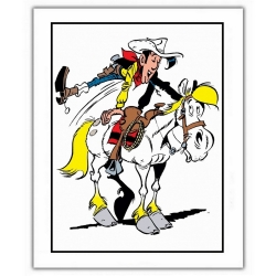 Póster cartel offset Lucky Luke, Saltando en Jolly Jumper (28x35,5cm)