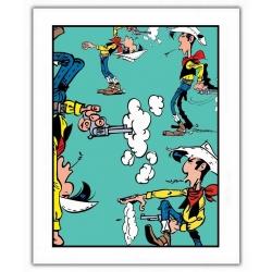 Póster cartel offset Lucky Luke, Posiciones de disparo (28x35,5cm)