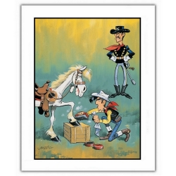 Póster cartel offset Lucky Luke, Engrasando Jolly Jumper (28x35,5cm)