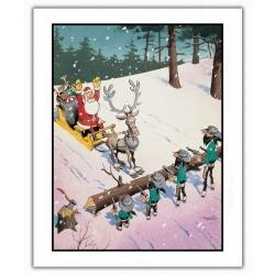 Póster cartel offset Lucky Luke, Los Dalton robando Papá Noel (28x35,5cm)