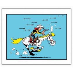 Póster cartel offset Lucky Luke, Atacado con flechas de Indios (35,5x28cm)