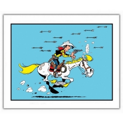 Poster offset Lucky Luke, Attacked with Indian arrows (35,5x28cm)