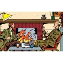 Collectible metal sign Blake and Mortimer, in front of the fireplace (30x20cm)