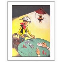 Póster cartel offset Lucky Luke, Lucky Luke Poker (28x35,5cm)