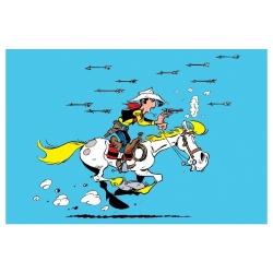 Carte postale de Lucky Luke: Attaqué par des flèches d'indien (15x10cm)