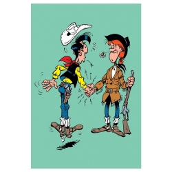 Postcard Lucky Luke: Lucky Luke and Calamity Jane handshake (10x15cm)