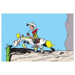 Postal de Lucky Luke: Lucky Luke y Jolly Jumper en el abismo (15x10cm)