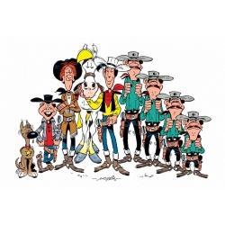 Postal de Lucky Luke: Los personajes (15x10cm)