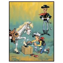Postal de Lucky Luke: Encerando los cascos de Jolly Jumper (10x15cm)