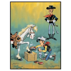 Postcard Lucky Luke: Waxing the hooves of Jolly Jumper (10x15cm)