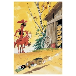 Postal de Lucky Luke: Rantanplan atrapado en la ratonera (10x15cm)