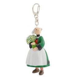 Porte-clés figurine Plastoy Bécassine avec son bouquet de fleurs 61078 (2014)