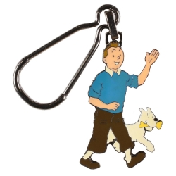 Collectible keyring chain Tintin and Snowy walking Corner (5cm)