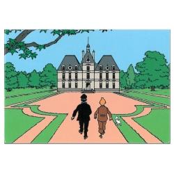 Imán decorativo Tintín y Milú con Haddock en el castillo de Moulinsart (80x55mm)