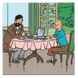 Imán decorativo Tintín y Haddock desayunando en el castillo de Moulinsart (65mm)