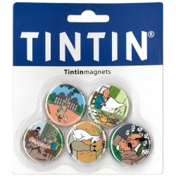 Set of 5 decorative fridge magnets of Tintin at the Moulinsart Castle (33mm)