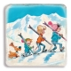Collectible marble signs Billy & Buddy Winter sports with family (20x20cm)