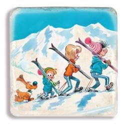 Placa de Mármol de colección Bill & Bolita disfrutando del esquí (20x20cm)