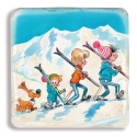 Collectible marble sign Billy & Buddy Winter sports with family (20x20cm)