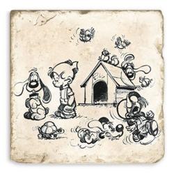 Plaque de marbre de collection Boule & Bill avec tous leurs amis (20x20cm)
