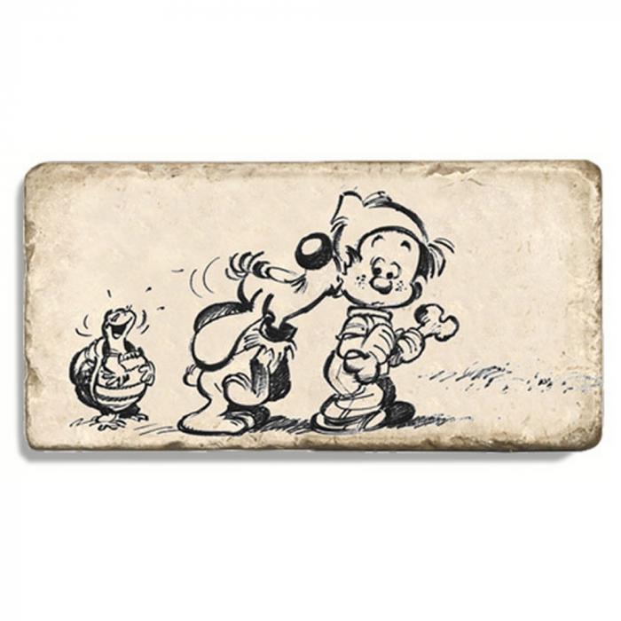Plaque de marbre de collection Boule & Bill, amis pour toujours (20x10cm)