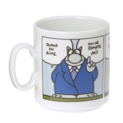 "Ceramic mug The Cat ""Quand on aime, on ne compte pas"""