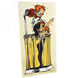 Placa esmaltada cómics Coustoon El Pequeño Spirou con Claudia Chiffre COUS03 (2012)