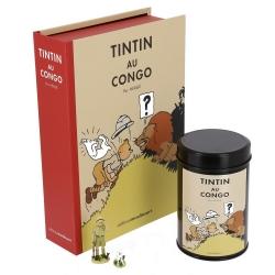Cofre Tintín en el Congo coloreado: figurita, litografía y caja café (León)