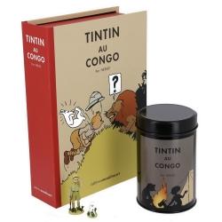 Cofre Tintín en el Congo coloreado: figurita, litografía y caja café (Fogata)