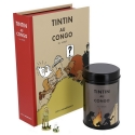 Colorized Set Tintin in Congo: figurine, lithographs and coffee box (Campfire)