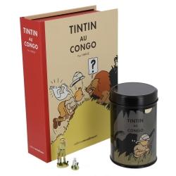 Cofre Tintín en el Congo coloreado: figurita, litografía y caja café (Leopardo)