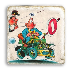 Plaque de marbre de collection Achille Talon, voiture et gendarme (20x20cm)