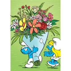Carte postale Les Schtroumpfs, Schtroumpfette et bouquet de fleurs (10x15cm)