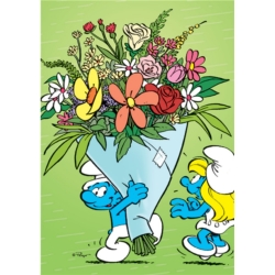 Postcard The Smurfs, Smurfette and bouquet of flowers (10x15cm)